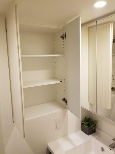 洗面所横の収納スペース内部