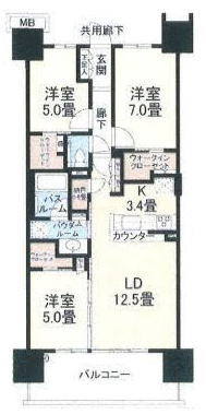 シティテラス東陽町の75.33㎡25万円のお部屋の間取り図