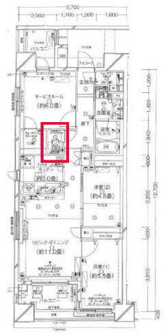 クレストフォルム日本橋水天宮のトイレの間取り図