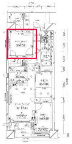 クレストフォルム日本橋水天宮の6.0帖の寝室の間取り図