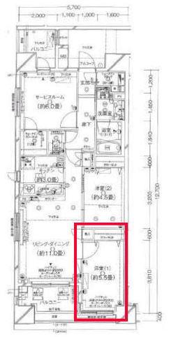 クレストフォルム日本橋水天宮の5.5帖の寝室の間取り図