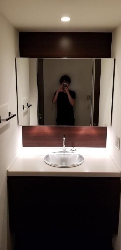 ドゥーエ日本橋の洗面所の三面鏡
