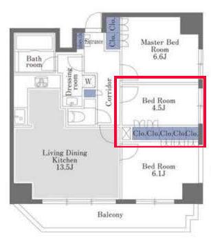 ドゥーエ日本橋の4.5帖の寝室の見取り図