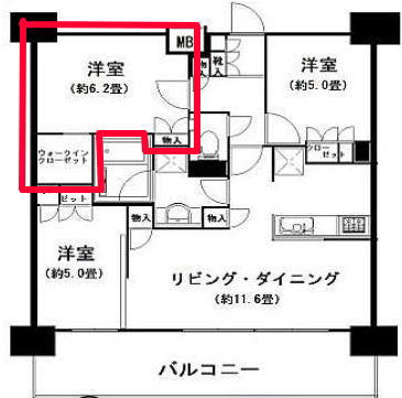 東陽町ステーションプレミアの6.2帖の寝室の間取り図