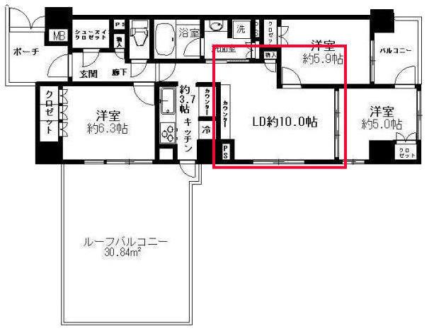 プレミスト東陽町のリビングルームの見取り図