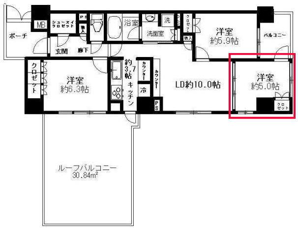 プレミスト東陽町の5.0帖の洋室の見取り図